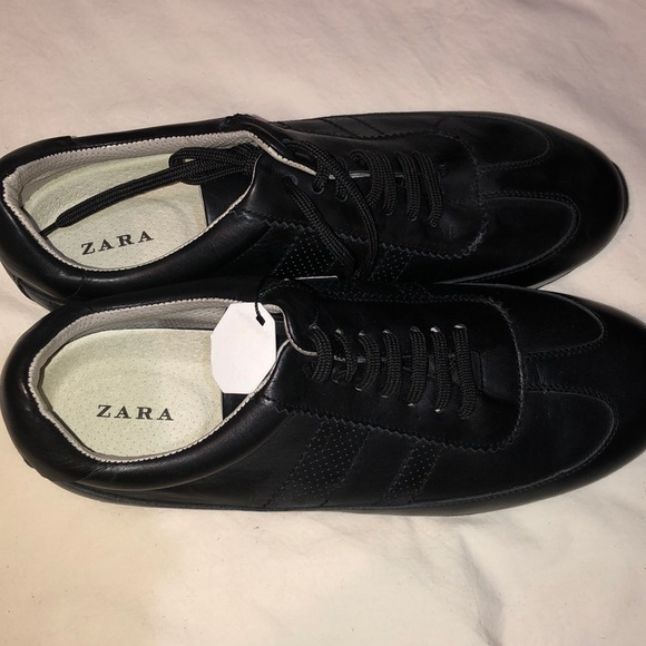 Zara Shoes | Black Leather Sneakers